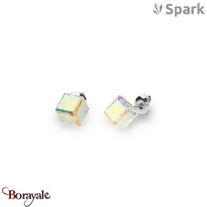 Boucles d'oreilles SPARK with Swarovski : Cubes medium 8 mm - Aurore Boréale