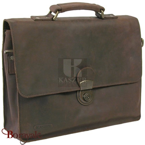 Cartable KASZER collection Kansas en cuir de buffle marron 20061-C6
