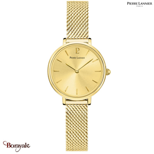 Montre PIERRE LANNIER Collection NOVA doré milanais Femme