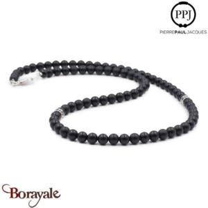 Onyx mat: Collier Pierres fines 6 mm PPJ, Taille M