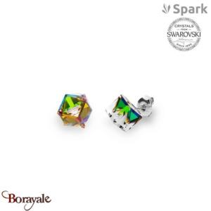 Boucles d'oreilles SPARK with Swarovski : Cubes medium 8 mm - Vitrail médium