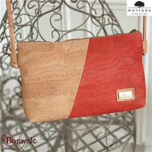 Sac à bandoulière, en liège, collection Basic, MONTADO Naturel-Rouge 58528NATVER