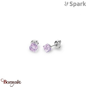 Boucles d'oreilles SPARK with Swarovski : Cube Small 6 Mm - Violet