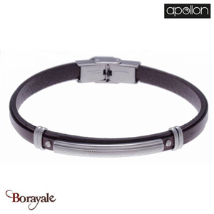 Bracelet cuir marron italien, Collection: cuir et acier APOLLON