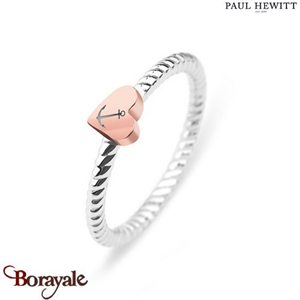 Bague Anchor Love Acier/Coeur IP Rose - Taille 54 PAUL HEWITT Collection Anchor