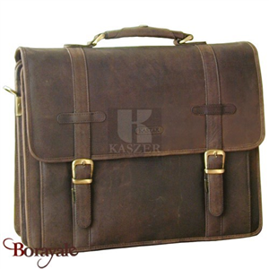 Cartable KASZER collection Kansas en cuir de buffle marron 20071-C6