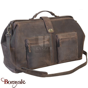 Sac de voyage - sport KASZER collection Kansas en cuir de buffle marron 21210