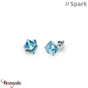 Boucles d'oreilles SPARK with Swarovski : Cubes medium 8 mm - Aquamarine