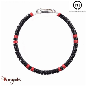 Bracelet PPJ Heishi Sioux Onyx, jaspe rouge Taille M