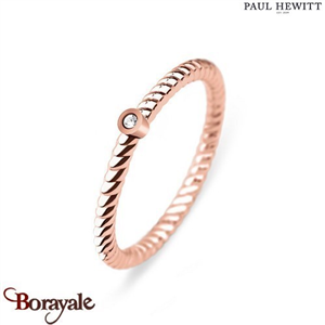 Bague North Star Acier IP Rose/Pierre - Taille 52  PAUL HEWITT Collection North