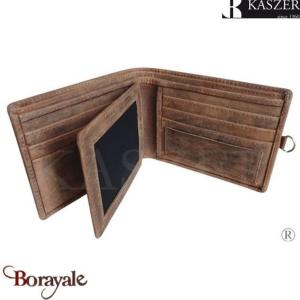 Porte cartes Italien KASZER collection Oregon en cuir de vachette brut 512804