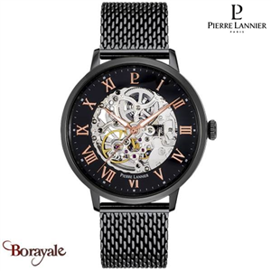 Montre PIERRE LANNIER Collection AUTOMATIQUE noir milanais  Homme