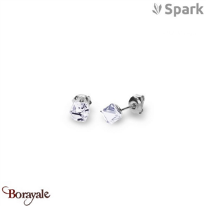 Boucles d'oreilles SPARK with Swarovski : Cube Small 6 Mm - Cristal blanc