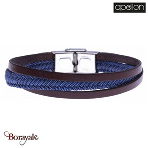 Bracelet cuir italien marron, Collection: cuir et jeans APOLLON