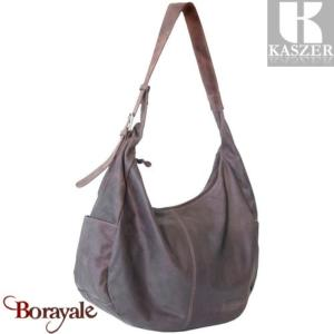 Sac épaule KASZER collection Kansas en cuir de buffle marron 20119-C6