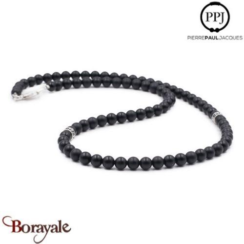 sélection premium b7e05 be0b0 Collier perles 6 mm PPJ homme Onyx Taille M ( 54 cm )