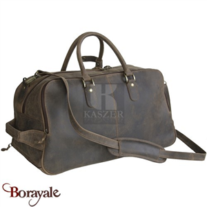 Sac de voyage - sport Trolley KASZER collection Kansas en cuir de buffle marron