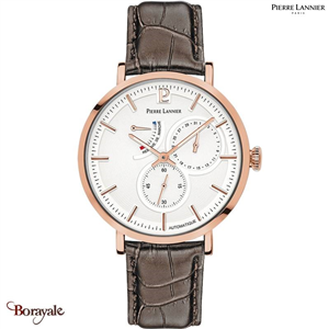 Montre PIERRE LANNIER Collection AUTOMATIQUE Evidence doré rose cuir Homme