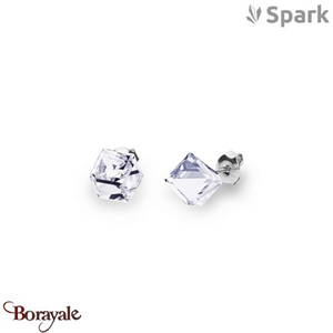 Boucles d'oreilles SPARK with Swarovski : Cubes medium 8 mm - Cristal blanc