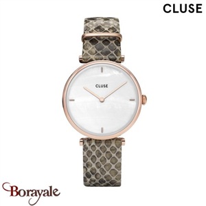 Montre Cluse Triomphe Rose Gold White Pearl/Soft Almond Python CL61007-CW0101208