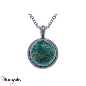 Collection Cabochon Collier YOLA perles et acier Chrysocolle IG-433
