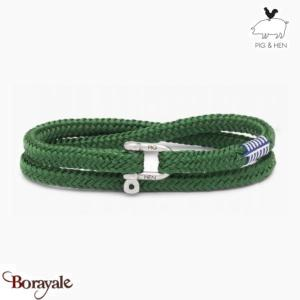 Bracelet PIG & HEN Salty Slim Jungle Green Silver Taille : XL (21cm)